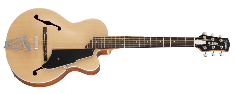 This is an official product photo of Vox's Giulietta guitar.  It's a top-down view of an archtop guitar, in a natural finish. There are f-holes on either side of the top, a floating bridge, and black pick guard.  No pickups are visible.
